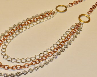 Handmade - Upcycled Vintage Clear Rhinestone Necklace with Chains