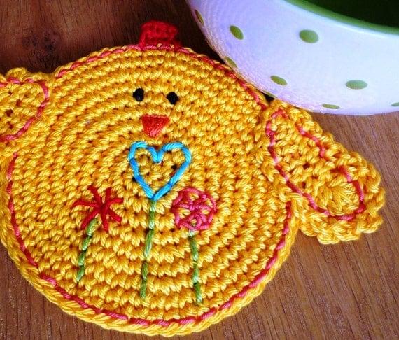 Crochet Chicken Coaster - Yellow Chicken Coaster - Double-Faced Chick Coaster - Drink Coaster - Country home Decor - Xmas Gift for Grandma