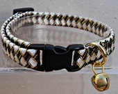 Cat Collar Breakaway in White Black and Gold