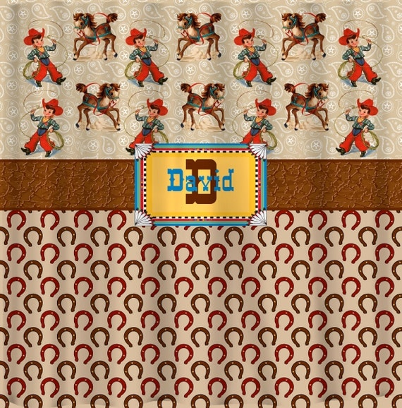 Personalized Western Theme Shower Curtain Tan Taupe by