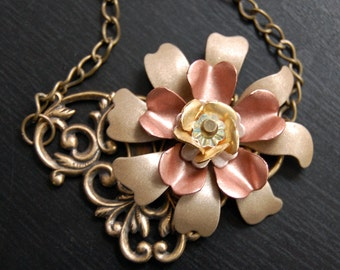Pinwheel in Bloom-Vintage Copper and Brass Flower Necklace