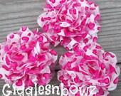 Petite Chiffon Lace Flowers- Valentine Print- 3pc Shabby Frayed Chiffon/Lace Rose Flowers- 3.5 inch Diy Headband Supplies
