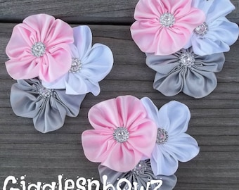 Set of THREE Embellished Satin CLuSTeR Flowers- PiNK, GRaY, WHiTe- NEW  2.5-3 inch Size