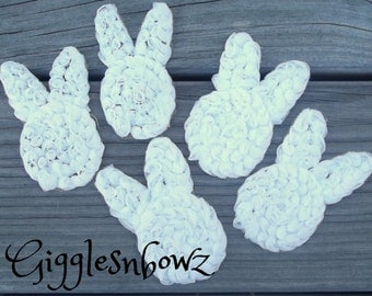Set of 5 Beautiful Shabby Chic Chiffon BUNNY RaBBiT Appliques- WHiTE petite size 2x3 inch