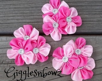 Set of THREE Embellished GRoSGRAiN CLuSTeR Flowers- PiNK/HoT PiNK TwoTone- NEW  2.5-3 inch Size