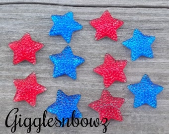 4th of July Embellishments- ReSIN GLiTTER STARS 16mm 4th of July RoYAL BLUE and ReD 10 piece set