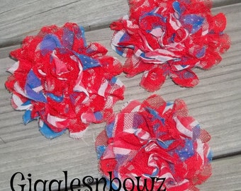 4th of July Flowers- STaRS and STRiPES w RED LaCE- 3pc Shabby Chic Frayed Chiffon and Lace Rose Flowers- 3.5 inch
