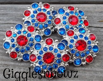 NEW Set of FiVE- 4TH of JuLY Red and Royal Blue Acrylic Rhinestone Buttons 27mm