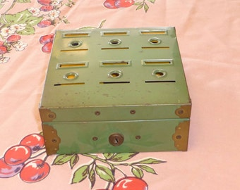 Old Green Metal Cash Box Chippy Metal Box