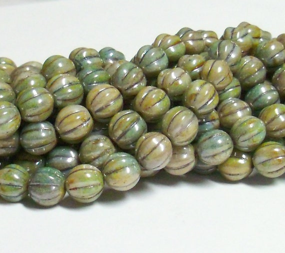 YEAR END CLEARANCE - Czech Pressed Glass 8mm Fluted Round Beads - Opaque Green Luster - 20 Beads