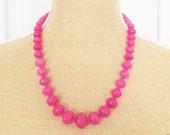 Chunky Fuchia Pink Faceted Agate Graduated Bead Gemstone Necklace - Statement, Wedding, Bridal One of a Kind