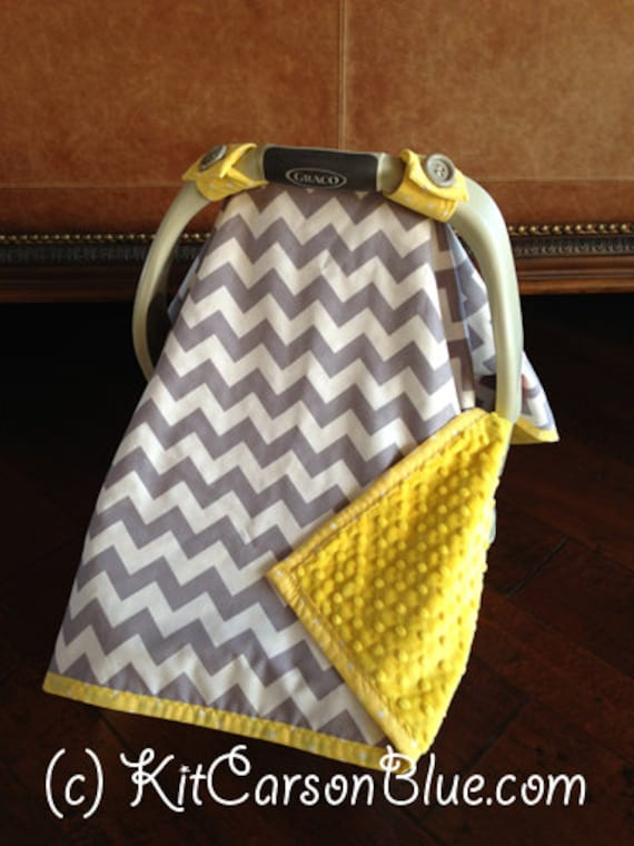 items similar to super cute baby car seat covers chevron in grey and white and canary yellow. Black Bedroom Furniture Sets. Home Design Ideas