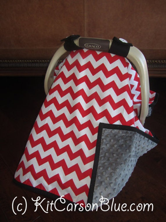 items similar to super cute baby car seat covers chevron in red with gray minky and solid. Black Bedroom Furniture Sets. Home Design Ideas