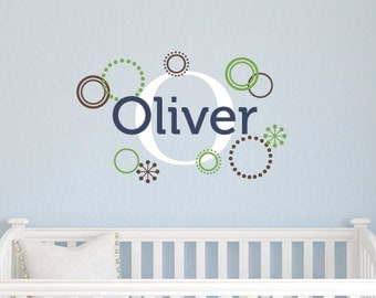 Personalized Name Decal, Boys Wall Decals, Wall Decals for Nursery, Name Decal with Circles Set, Boys Name Decal Set, Wall Art for Kids