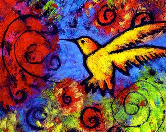 """Gallery Wrapped Canvas Print Hummingbird Art 8"""" x 8"""" - Returning To The Sweet Place By The River by Lindy"""