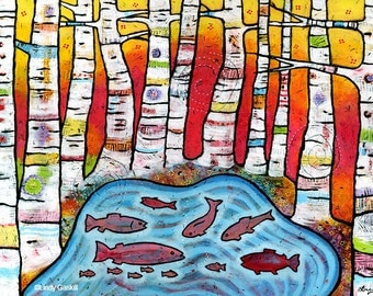 Aspen Trees and Fish Print, Kids room wall art, Nursery Art Print, Nursery Decor, Baby Nursery by Lindy Gaskill