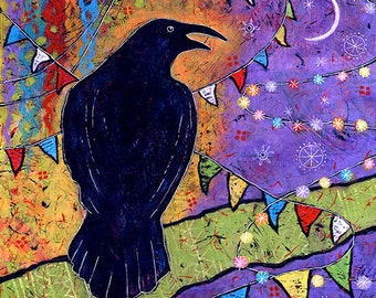 Colorful, Whimsical Raven Art Print - Laughing with the Moon
