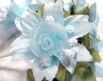 Organza and Fabric Star Flower Embellishments in Sky Blue