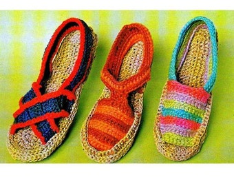 INSTANT DOWNLOAD PDF Vintage Crochet Pattern   Espadrilles Sandals Retro