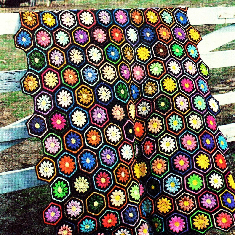 Instant download pdf vintage crochet pattern floral hexagon afghan instant download pdf vintage crochet pattern floral hexagon afghan throw blanket retro bankloansurffo Image collections