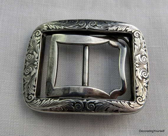 antique deep engraved belt buckle sterling by decoratingyourself