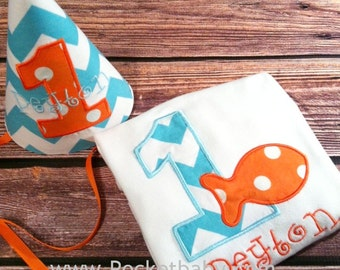 Personalized Goldfish Birthday Shirt and Fabric Birthday Party Hat - You Choose your Fabric - by Pocketbaby