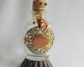 Decorative Coppery Altered Bottle for Boudoir or Bath, Mixed Media Art Decor