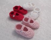 Crochet Mary Jane Style Baby Shoes - newborn or 0-3 months - made to order