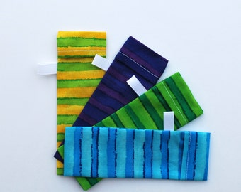 DPN Storage Pocket  Sock Needle Protector 5 inch needles  Set of four  gift for knitter Bright Stripes Quiltsy Handmade
