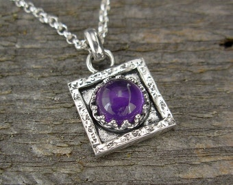 Amethyst Necklace -  Tiny Square Amethyst Pendant on Chain - Sterling Silver