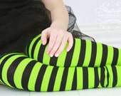 Green and Black Striped Girls Leg Warmers
