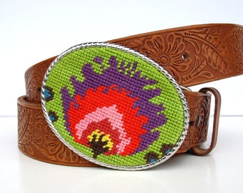 Needlepoint Candy Floral Belt Buckle