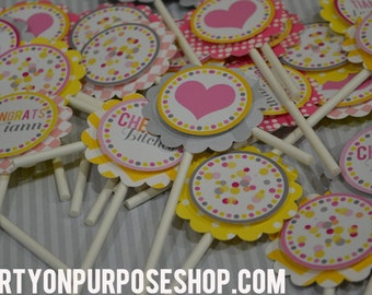 Bachelorette Party Cupcake Toppers Last Fling Before the Ring Fully Assembled Decorations