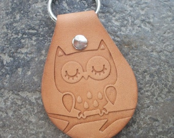 Owl Embossed Leather Key Fob / Key Ring - Nature Inspired - Custom Made
