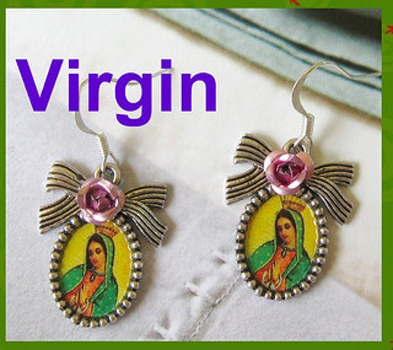 Our Lady of Guadalupe earrings mexico folk altered art catholic virgen mexicana virgin unique day of the dead collectible patrona