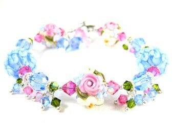 Pastel Floral Bracelet, Pink Blue Ivory Bracelet, Nature Jewelry, Pink Rose Bracelet, Lampwork Bracelet, Flower Bracelet - Spring Blossoms