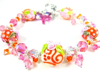 Tropical Bracelet, Orange & Pink Floral Bracelet, Whimsical Bracelet, Polka Dot Jewelry Crystal Bracelet, Lampwork Glass Bracelet Orange Pop