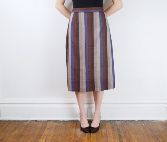 1970s Purple and Grey Striped Skirt - M