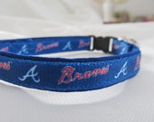 Atlanta Braves Cat  or Small Dog Collar w/ Option for Blue or Pink Background