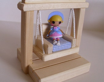 Wooden Toy Small Swing, Doll Swing Set, Dollhouse Accessory, Handmade Wood toy, Kids Birthday gift, Waldorf inspired, Jacobs Wooden Toys