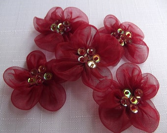 5 pcs burdungy organza Mini  Flower With Burdungy  Bead...Mini Fabric Flowers
