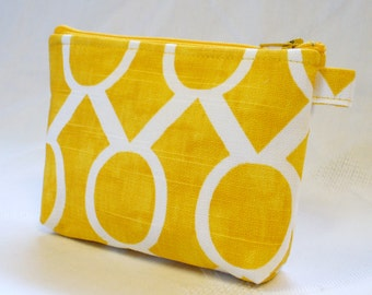 Corn Yellow White Sydney Fabric Bridesmaid Gift Gadget Pouch Cosmetic Bag Zipper Pouch Makeup Bag Cotton Zip Pouch MTO