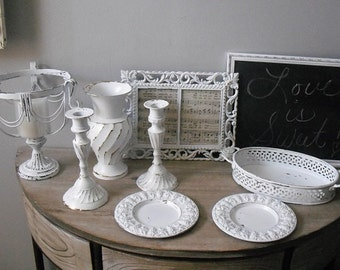10 pc white WEDDING decorations grouping ... Chalk board .. double frame .. candlesticks .. metal vase .. small chargers .. filigree tray Ro