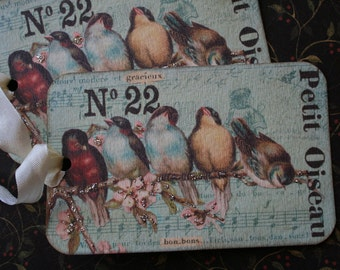 "4 French inspired bird tags. XL, 5"" x 3 3/4"""