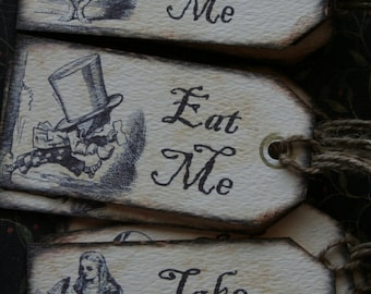 Alice in Wonderland tags, set of 10, you choose Eat Me, Drink Me, Take Me or mixed set