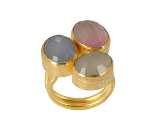 Pink Tourmaline, Blue Chalcedony, Green Tourmaline Ring, Gold Plated, Turkish Jewelry