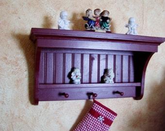 "Wood Display Shelf Coat Rack Pine Knick Knack Wall Hanging Shelf 24"" Shaker"