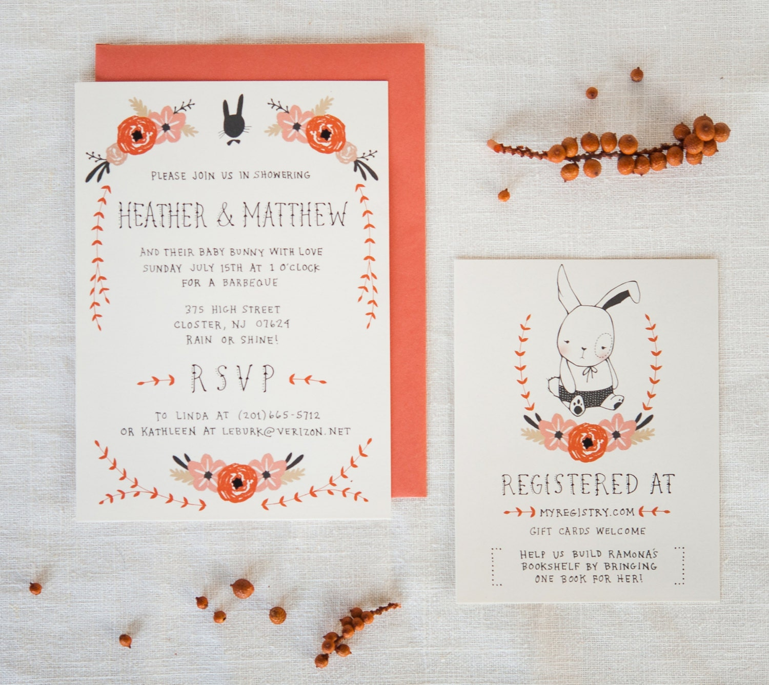 Baby Shower Invitation and Registry Card Bunny & Blooms