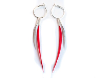 Modern Feather Earrings on Hoops in Bright Red and Grey in Interchangeable Style