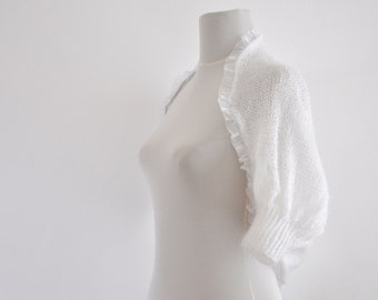 White Bridal Shrug Bolero Wedding Jacket Cardigan Mohair Chic Elegant